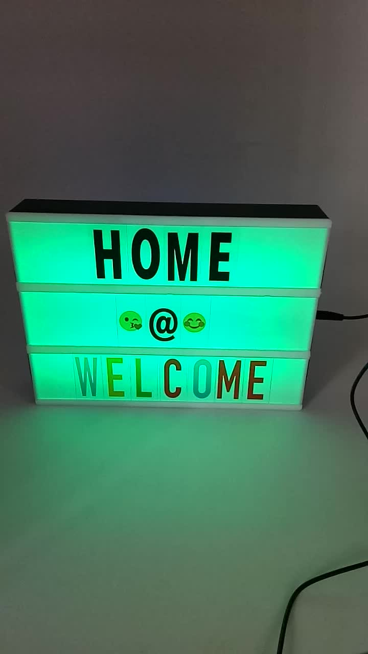 LED Night Light With 96 Letters Cards DIY Box Lamp AA Battery Cinema Lightbox Message Board