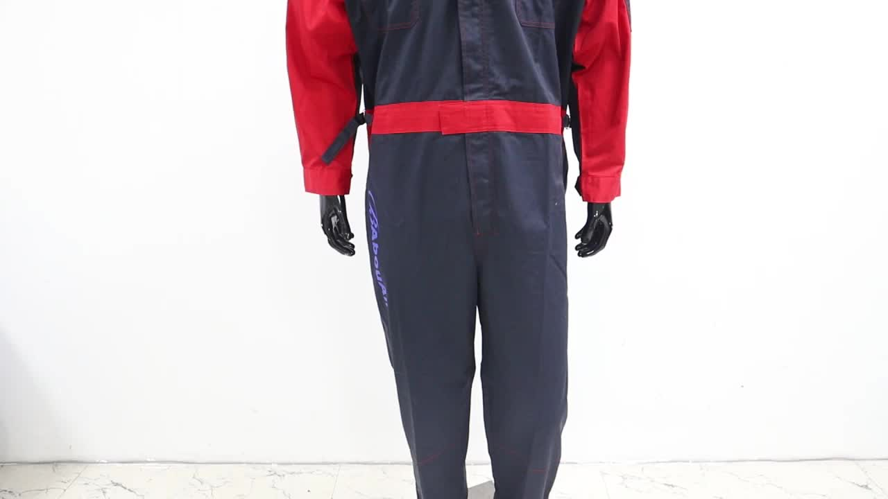 Custom Track Driver Staff Motorcycle Racing Suits Two Tone Custom Embroidered Coveralls