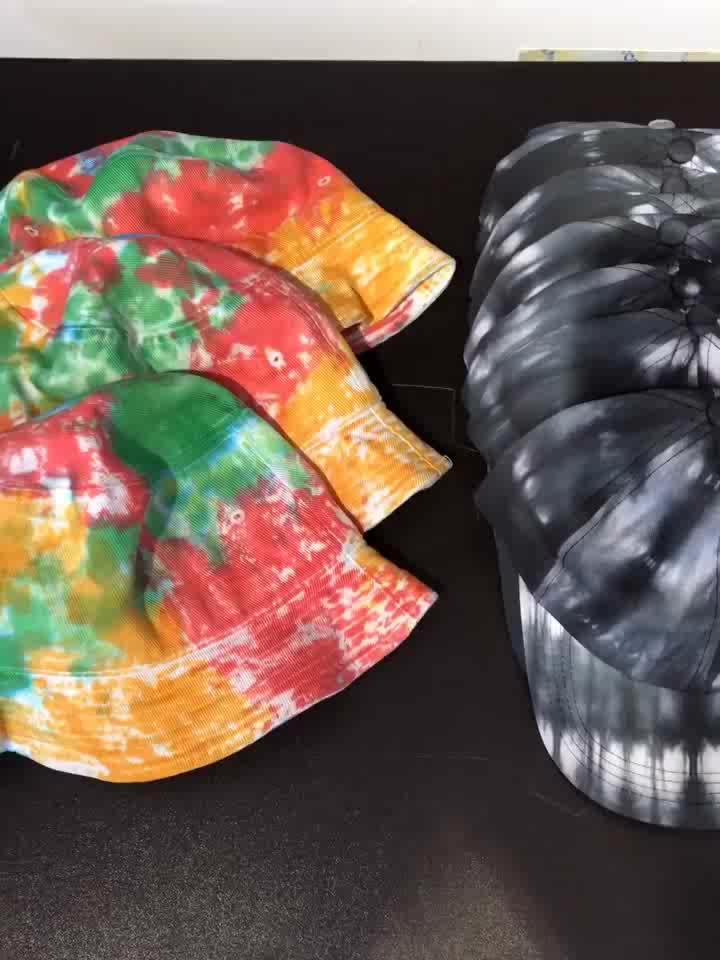 Commercio all'ingrosso di disegno di modo personalizzato tie-dye stampa arcobaleno colorato cappello della benna