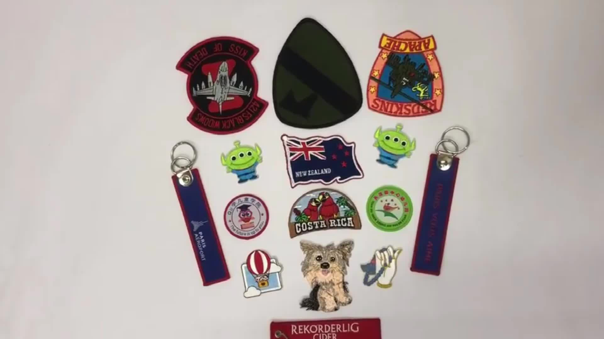 Embroidery Woven Label Aircraft Brand Key Chain Custom Logo Embroidery Keyring No Mold Fee Keychain