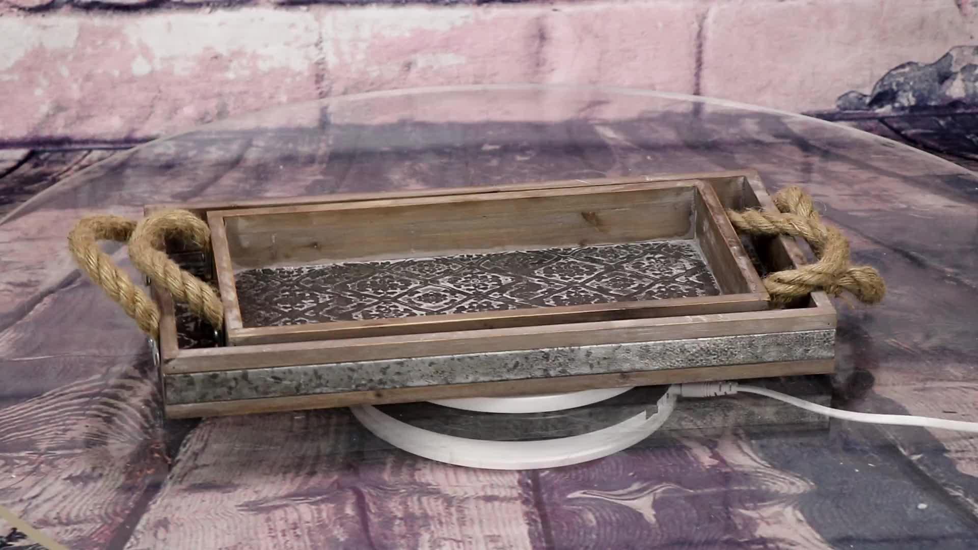 Preiswertes Set 2 rustikales kundenspezifisches traditionelles chinesisches antikes Teetablett mit Griff 02061