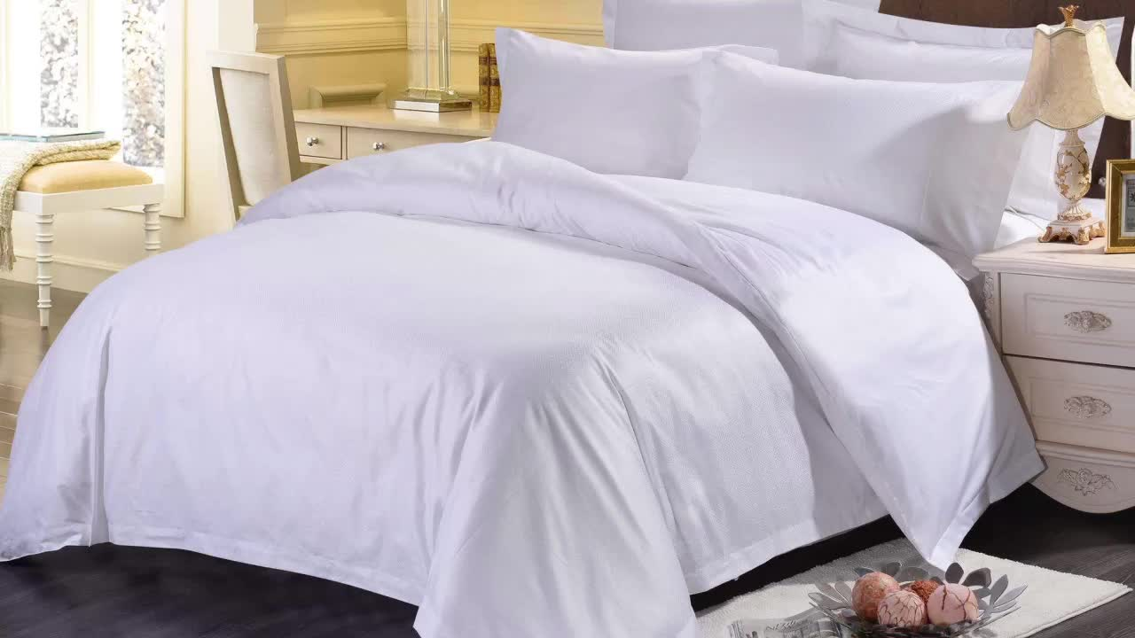 100% combed cotton plain white sateen 400tc hotel bedding bed sheet set