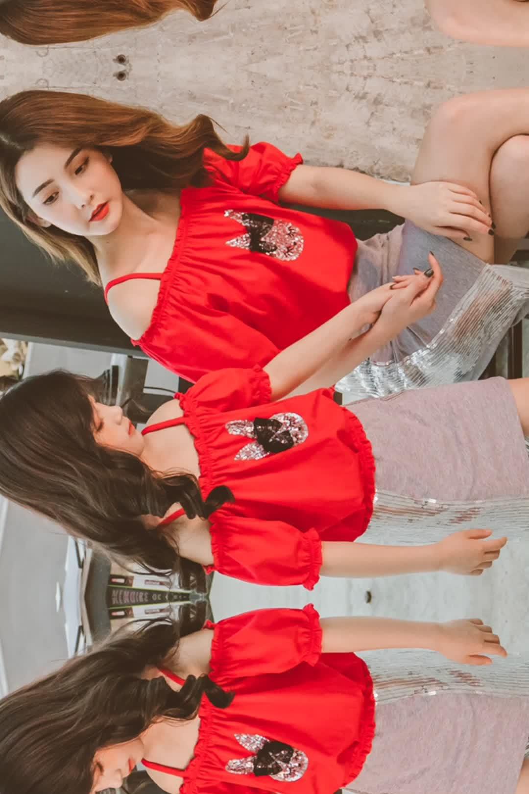 2020 Musim Semi Mommy dan Saya Gaun Suar Clace Hem Denim Ibu dan Anak Pakaian