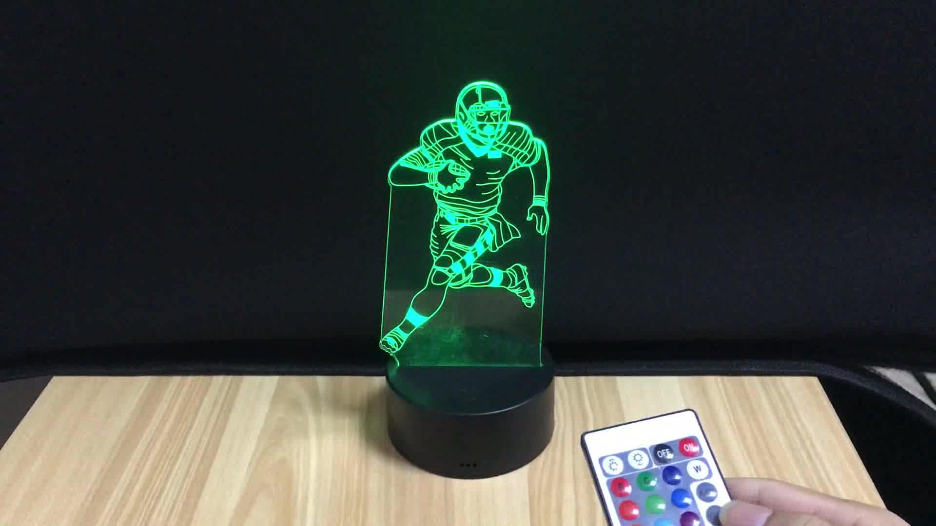 Kobe บาสเกตบอล shape Night Light 3D Vision อะคริลิค 16 สีเปลี่ยน USB ข้างเตียงโคมไฟสร้างสรรค์