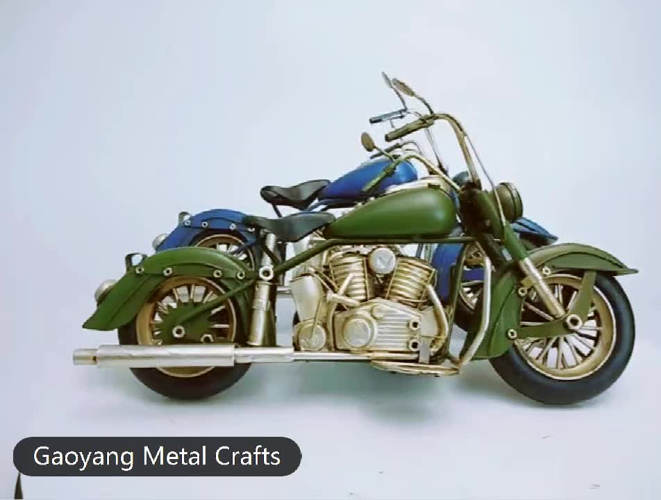Metal Crafts Motorcycle Model Sculpture Cyclist Figurine Motorbike Home Office Decor