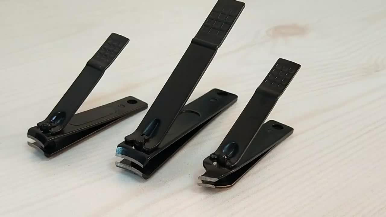 Conjunto de cortador de unhas fino e fino de segurança preto feminino
