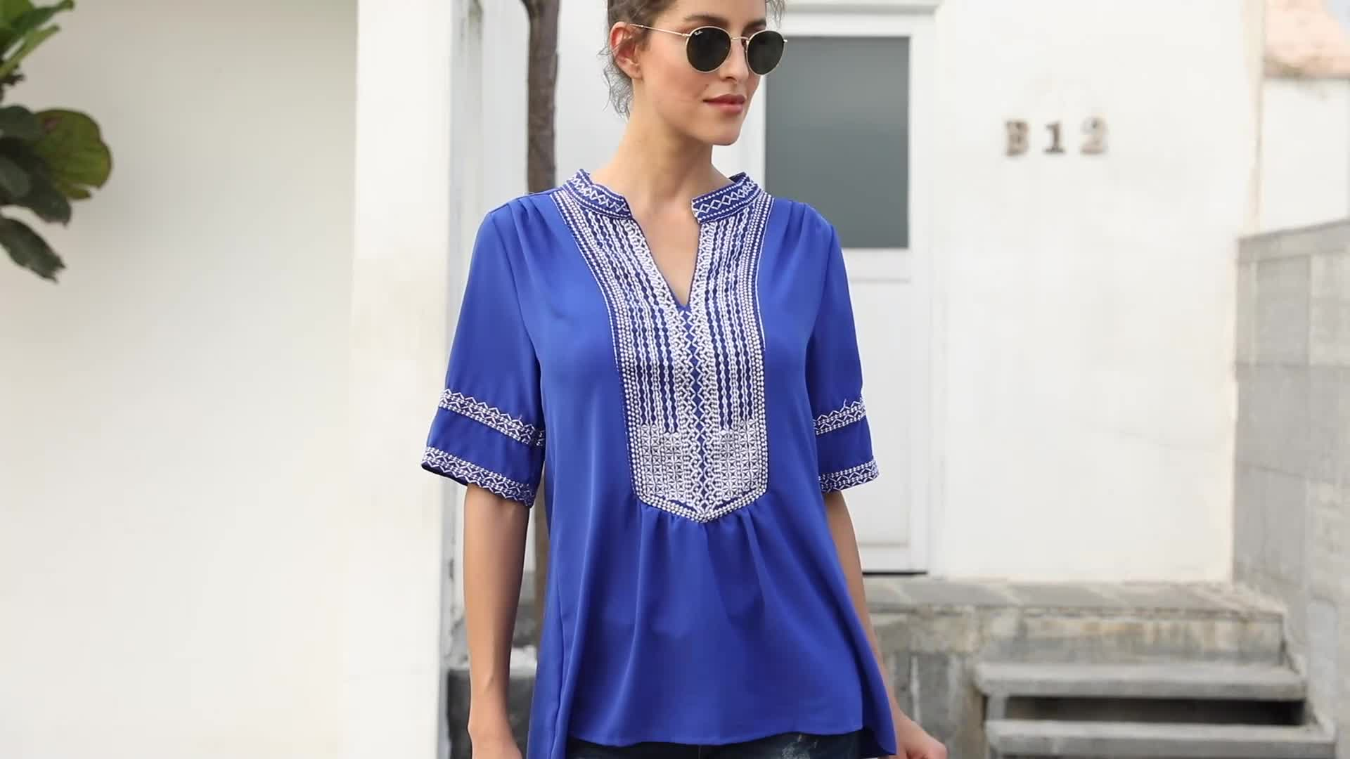 2019 New Fashion Women V Neck Elbow Length Short Sleeves Front Embroidery Blouse