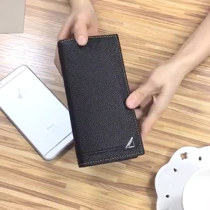 Classic Style Business Long Handmade Waterproof Fashion Wallet Leather for Men