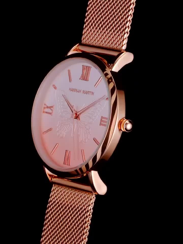 Stainless Steel 30 meters waterproof Quartz watches Ultra Thin Luminous 3D butterfly Wrist Watches for women Japan movement