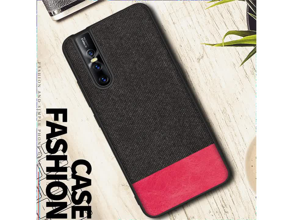 Splicing Canvas PU leather Phone Case Back Cover For vivo x27