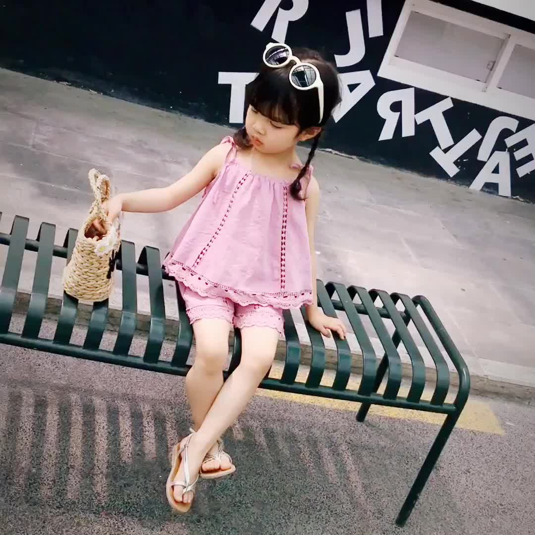 summer cute Baby girls kids wear two pieces set children clothing wholesale baby clothes set