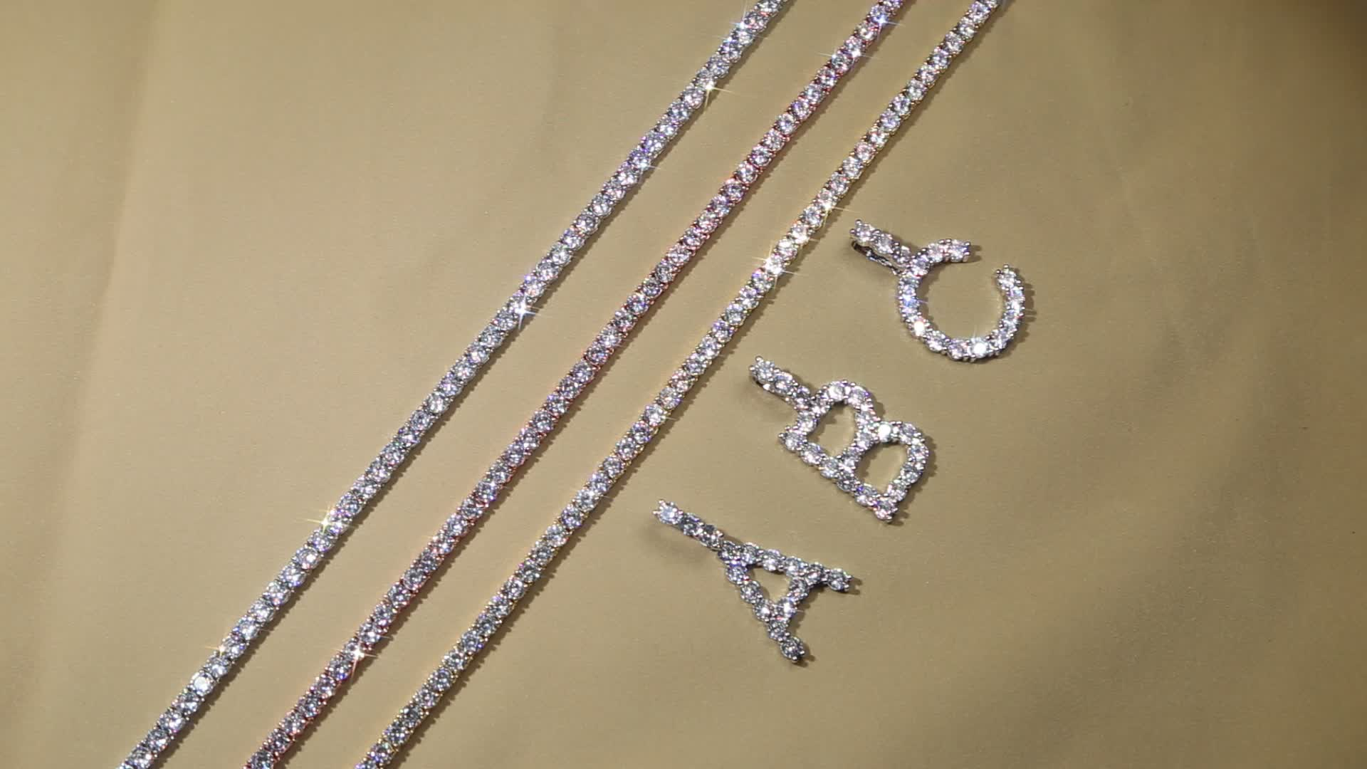 925 sterling silver or brass factory customize 3mm 4mm 5mm 6mm cz tennis chain hip hop tennis necklace for men