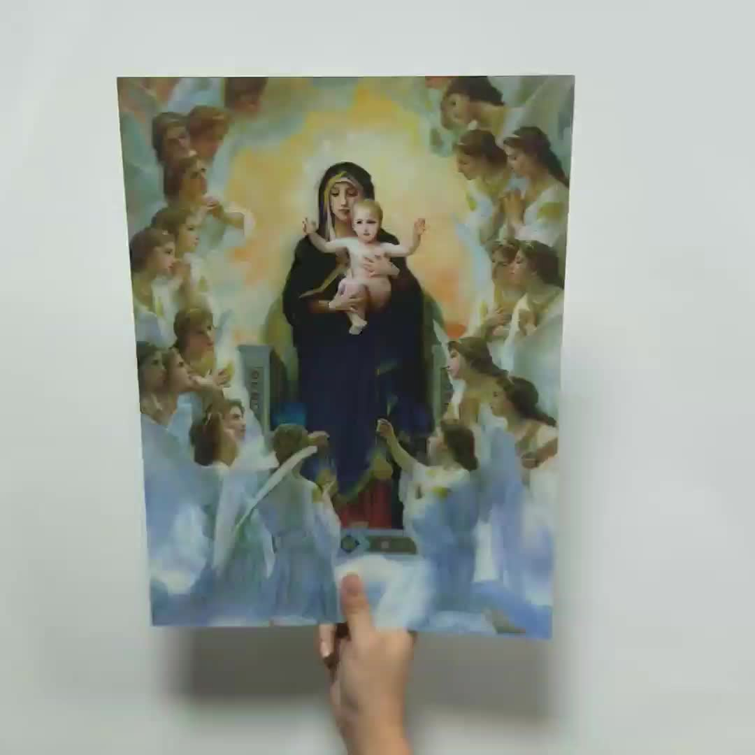 2018 3d flip picture of virgin mary with baby 3 pictures on one
