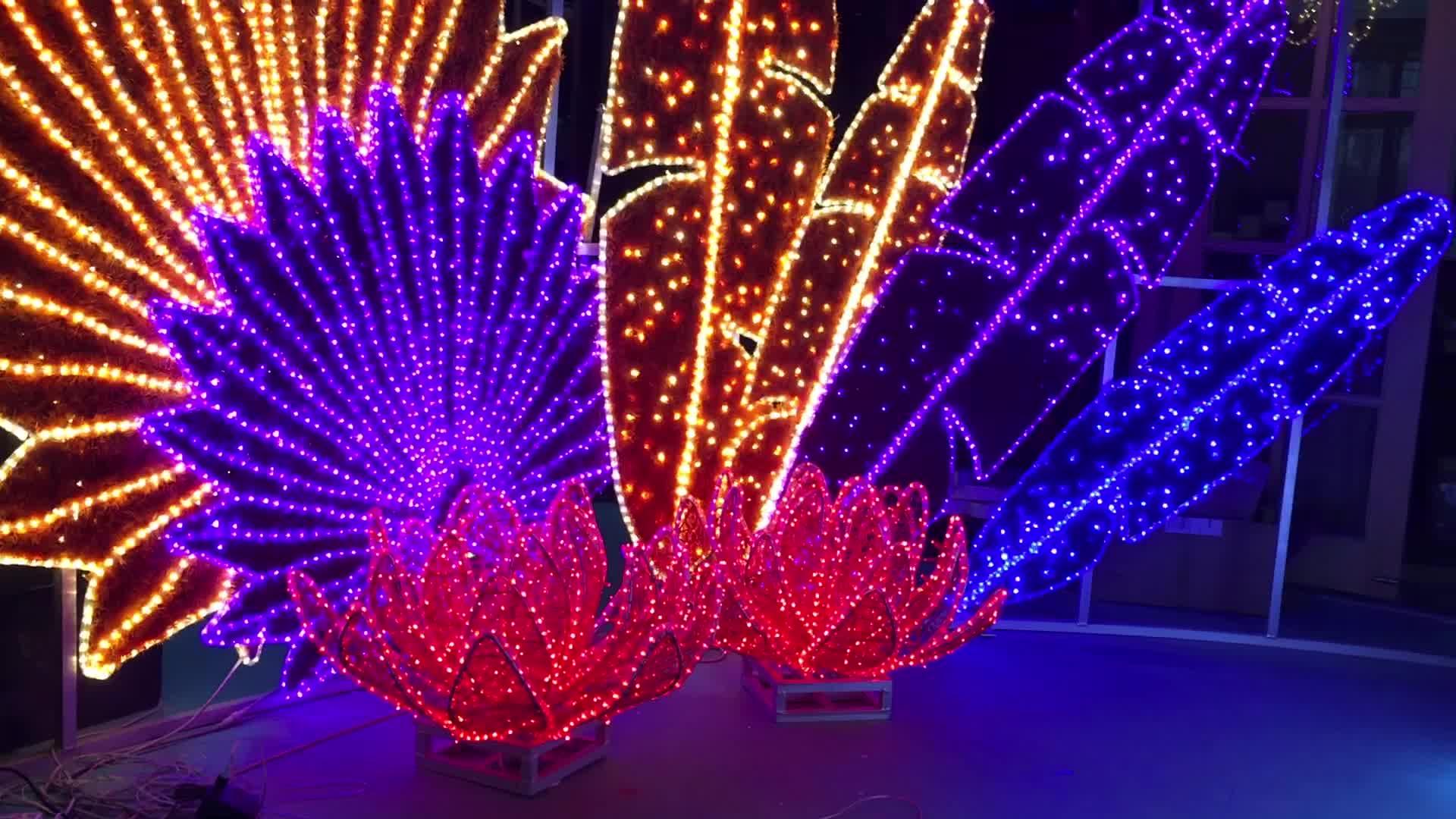 3D ขนาดใหญ่ LED คริสต์มาสของขวัญกล่อง/หมีขั้วโลก/ร่ม/Reindeer/ปีกตกแต่ง LED Motif สำหรับ street