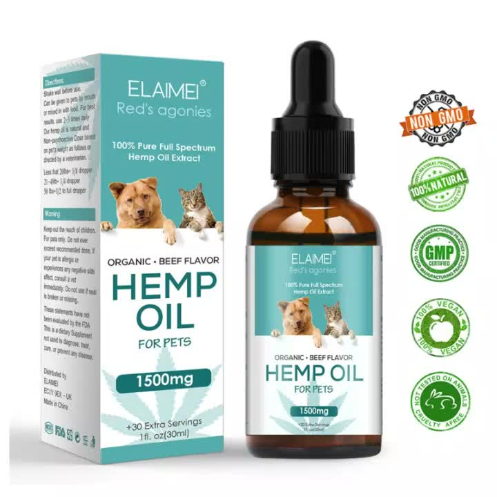 ELAMEI Organic Hemp OilためDogs Cats 1500mg Max Potency Relief Pain Separation Anxiety