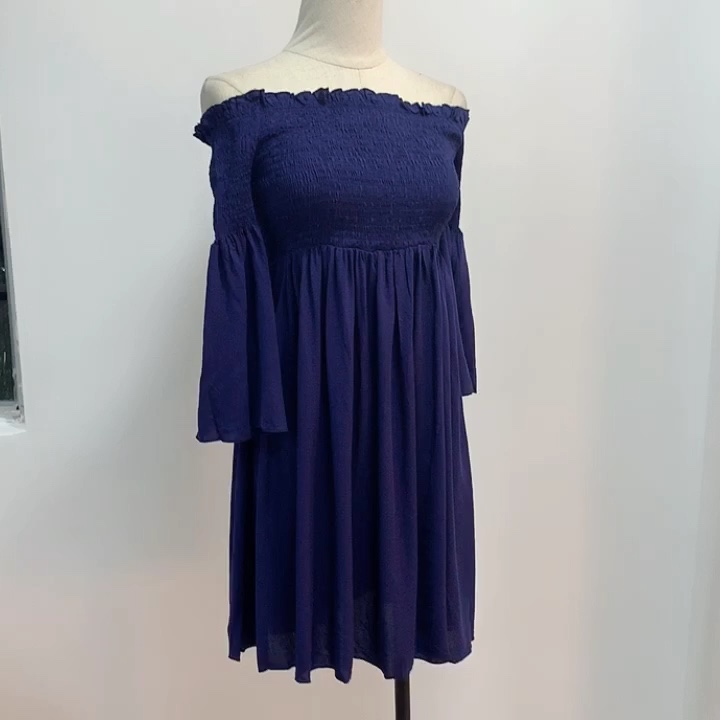 Stock fashion flare sleeve viscose women  smocked off shoulder blouse fancy dresses ladies wear 2020