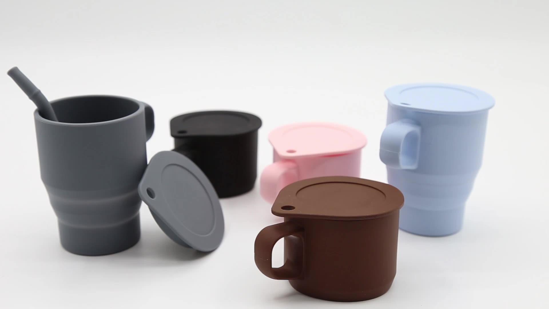 300ML 아마존 베스트셀러 2021 무료 샘플 도매 맞춤형 접이식 물 컵 휴대용 접이식 커피 머그잔