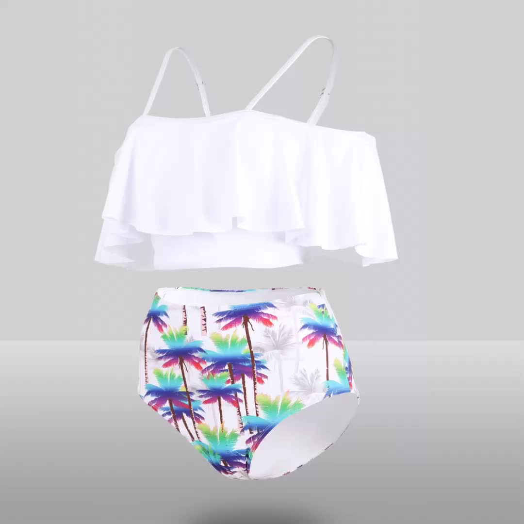 Floral Printing Pattern Two Piece Women Sexy Swimsuit Flower Ruffled Separate Bathing -8567