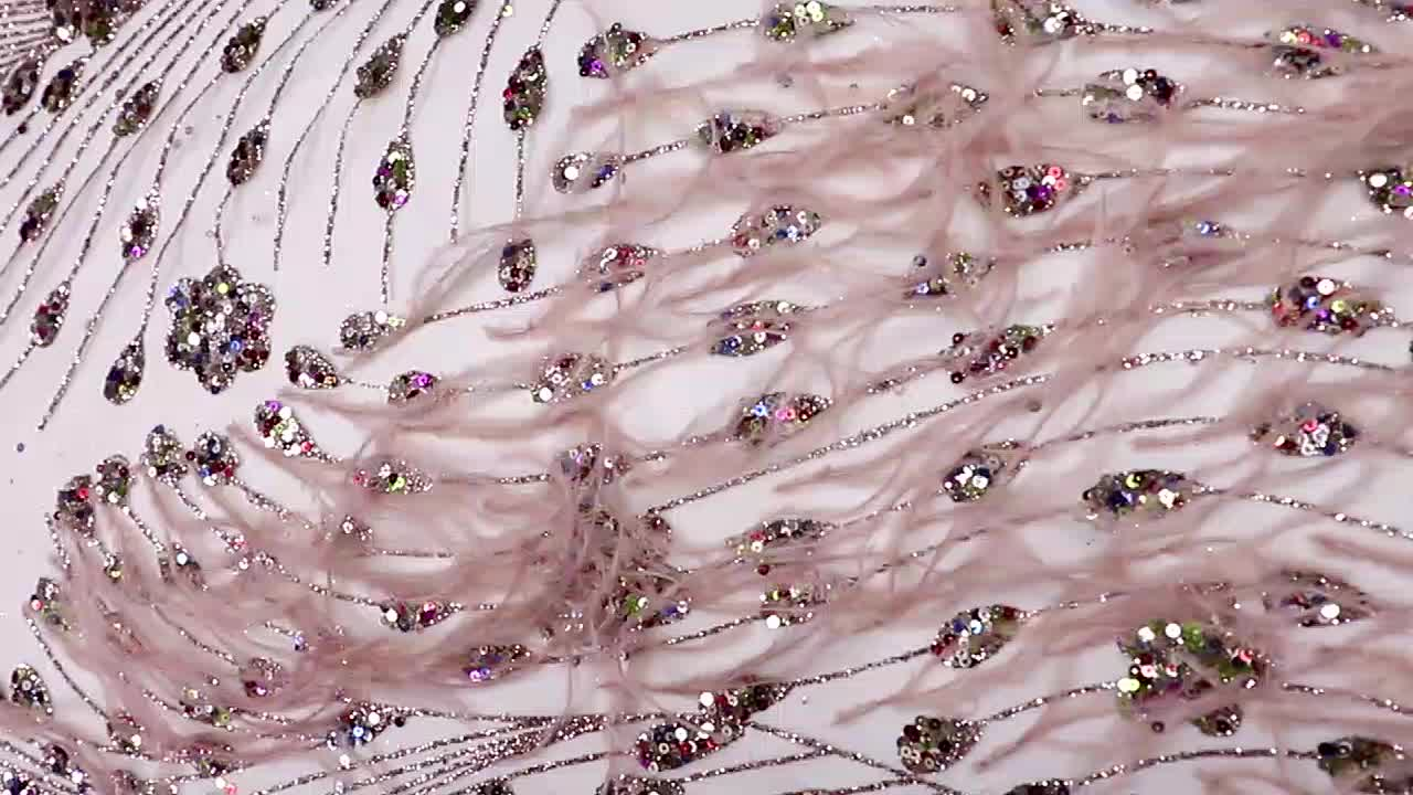 New Designs colorful tulle feather Sequin Glitter embroidery lace fabric JH9001