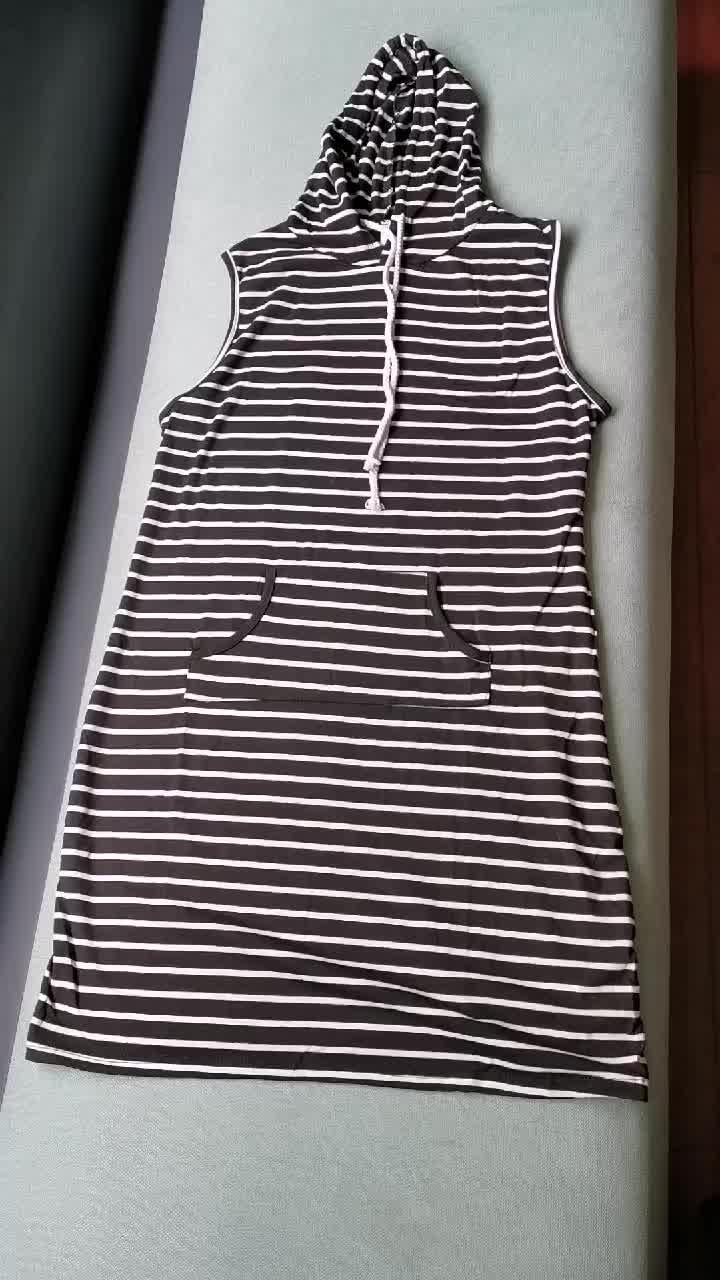 女性のセクシーなノースリーブストライププルオーバー夏ドレストレーナーカジュアルスリム綿グレーボディコンパーカードレス