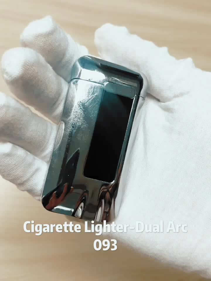 China Custom Rechargeable Windproof USB Dual Arc Cigarette Lighter With Battery Indicator Display for Smoking