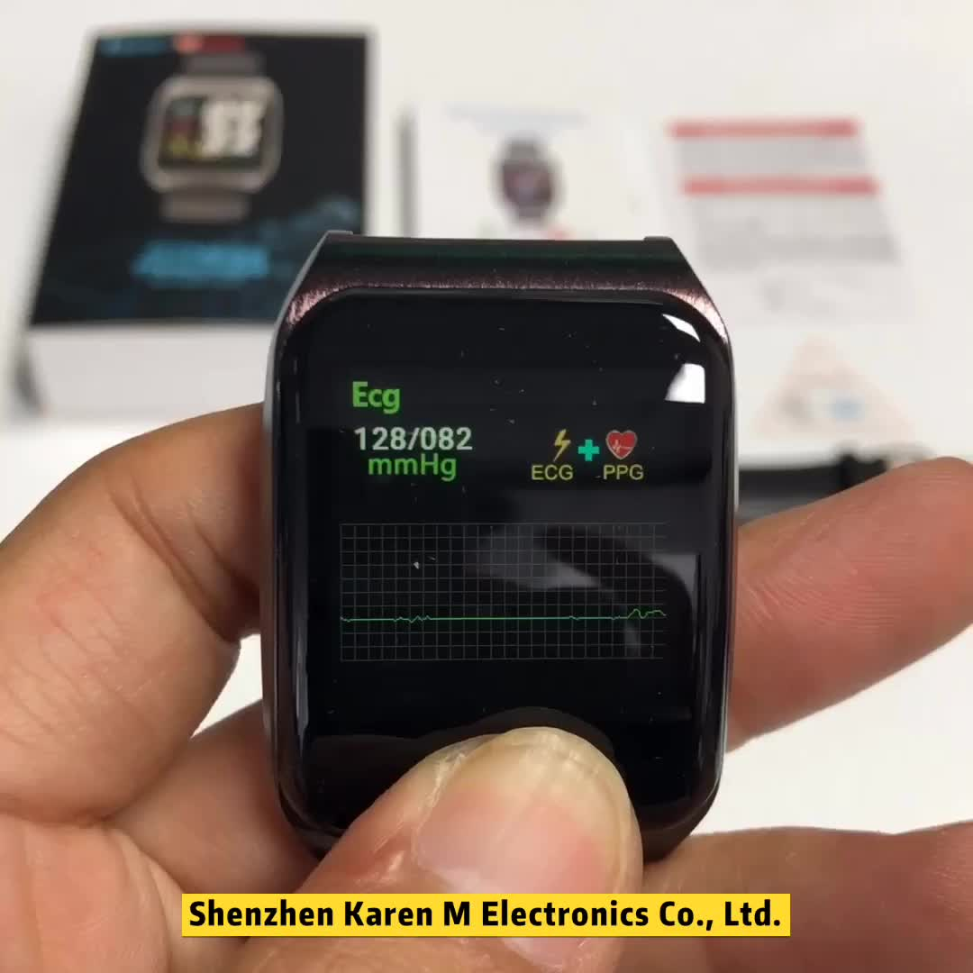 E58 ECG PPG smart watch with electrocardiograph ecg display ,holter ecg heart rate monitor blood pressure smartwatch PK N58 DT28