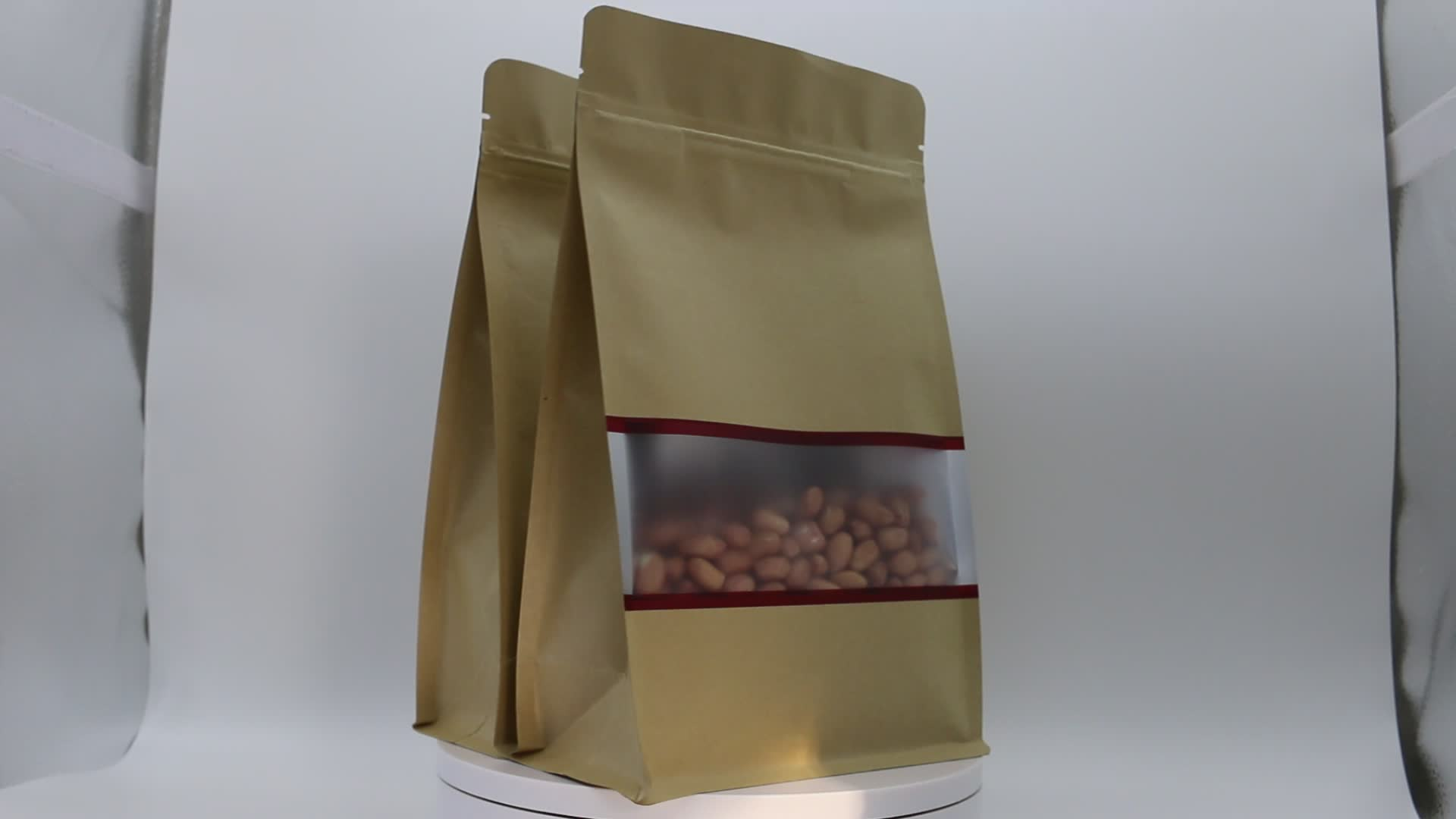 Customized Food grade brown kraft tin tie paper bag for fruits snack packaging