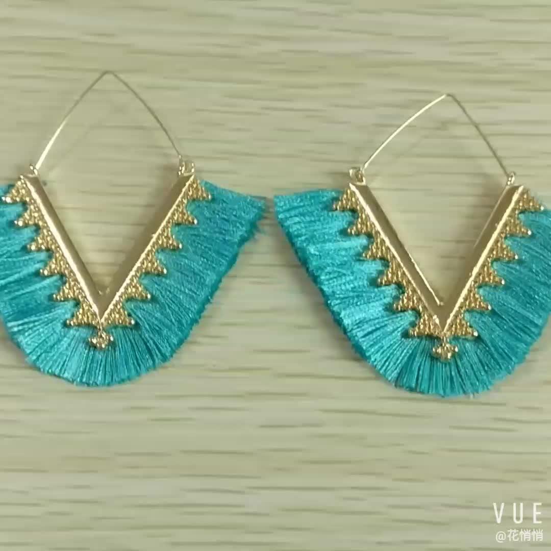 2019 Fashion Women Jewelry Worn Gold Metal Geometry V Shape Cotton Thread Tassel Earrings