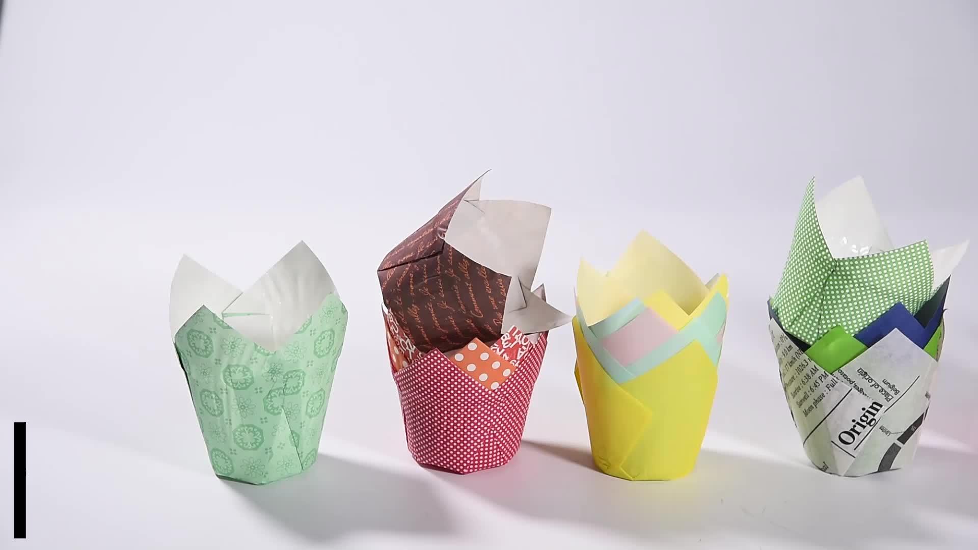 Baking Nguồn Cung Cấp 4 màu sắc hỗn hợp không thấm mỡ giấy tulip cupcake lót cho bánh muffin trang trí và nướng bánh cup wrapper