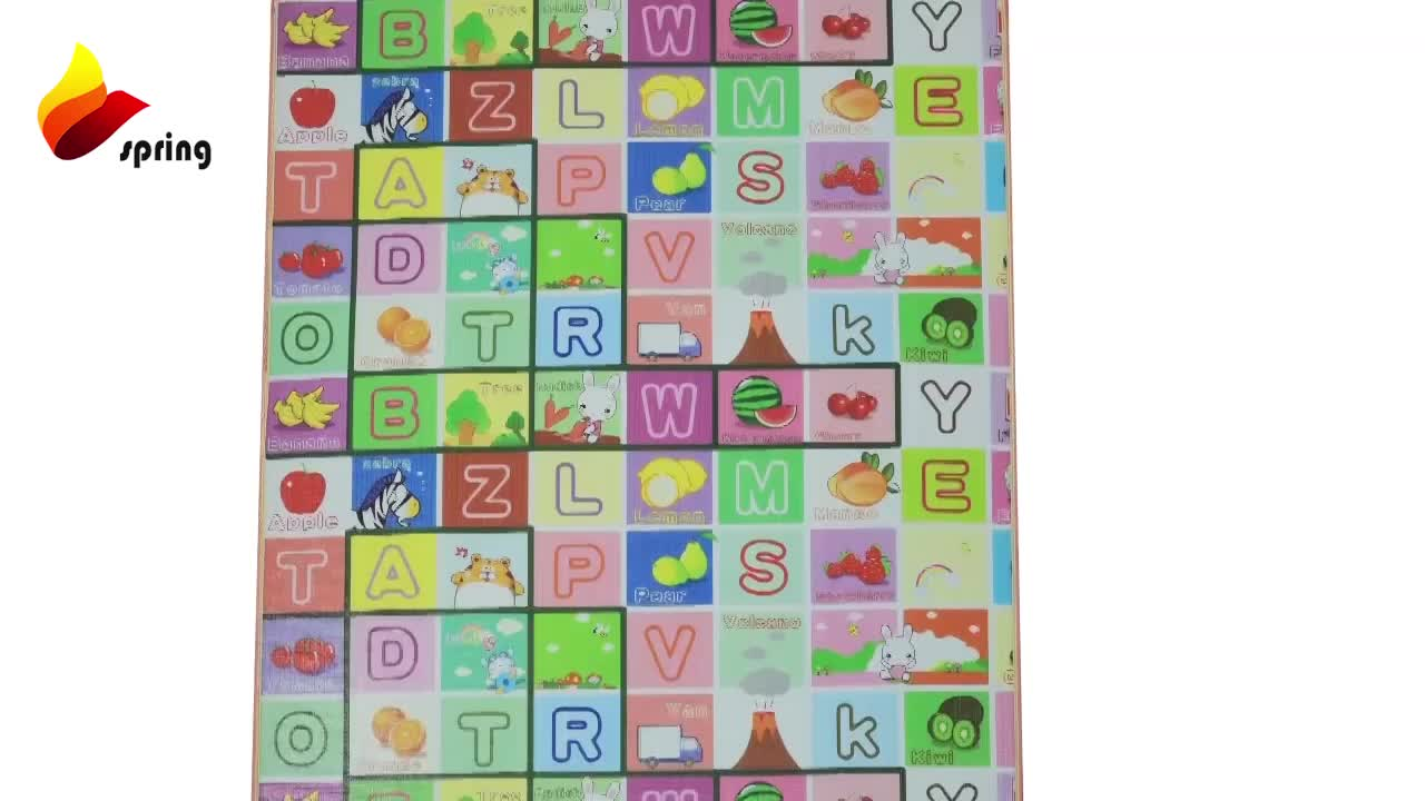 Green Fruit Names Kids Gym EPE Eco Friendly Baby Foam Playmat with Sides