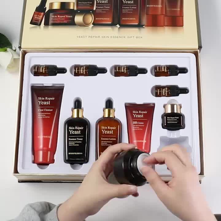 Private label Yeast extract skincare set 11pcs Korean whitening nourishing repair facial skin care set