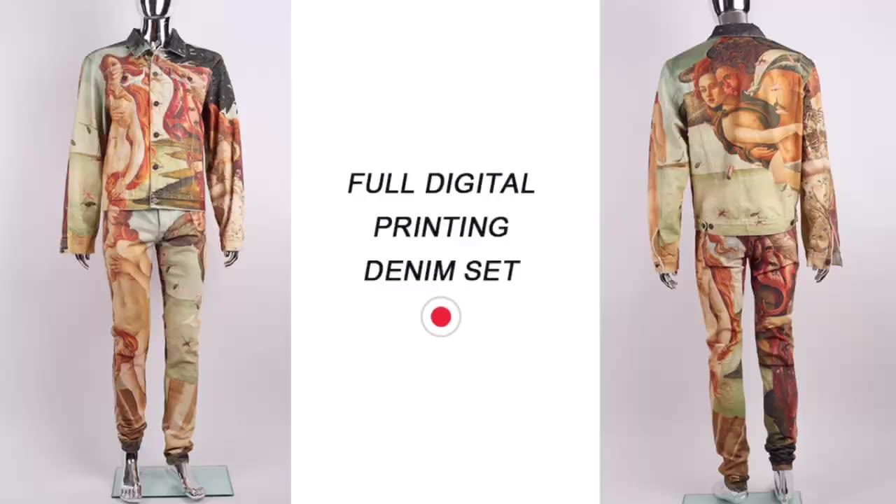 Edge Denim High Quality OEM All Full Digital Printed Design Custom Denim Jeans Pant Men