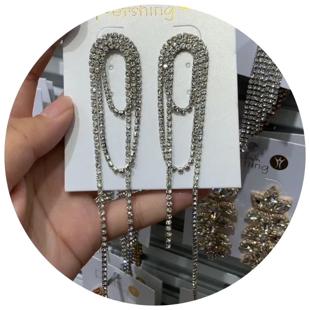 2020 Women's Earrings Elegant Style Long Type Thin Chain Rhinestone Earrings Silver Plated