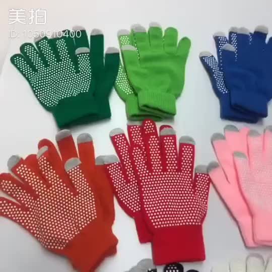 Wholesale Winter anti-slip acrylic knitted gloves plam dots grip glove candy color gloves and mitten