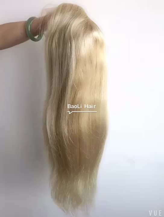 wholesale price 100% unprocessed virgin human ombre golden blonde #613 silky straight lace front wigs with baby hair