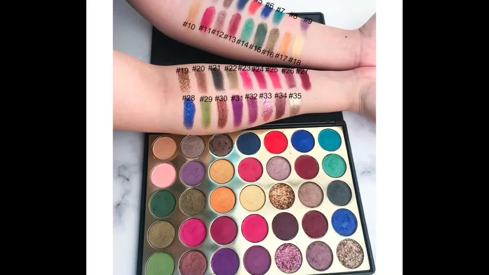 The latest eye shadow 35SP Metallic eye shadow  Multi-Colors Shine Long-lasting Eyeshadow With your logo