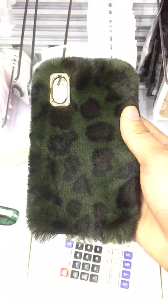 fluffy animal fur cute cell phone case for iPhone 8 fur case winter warm