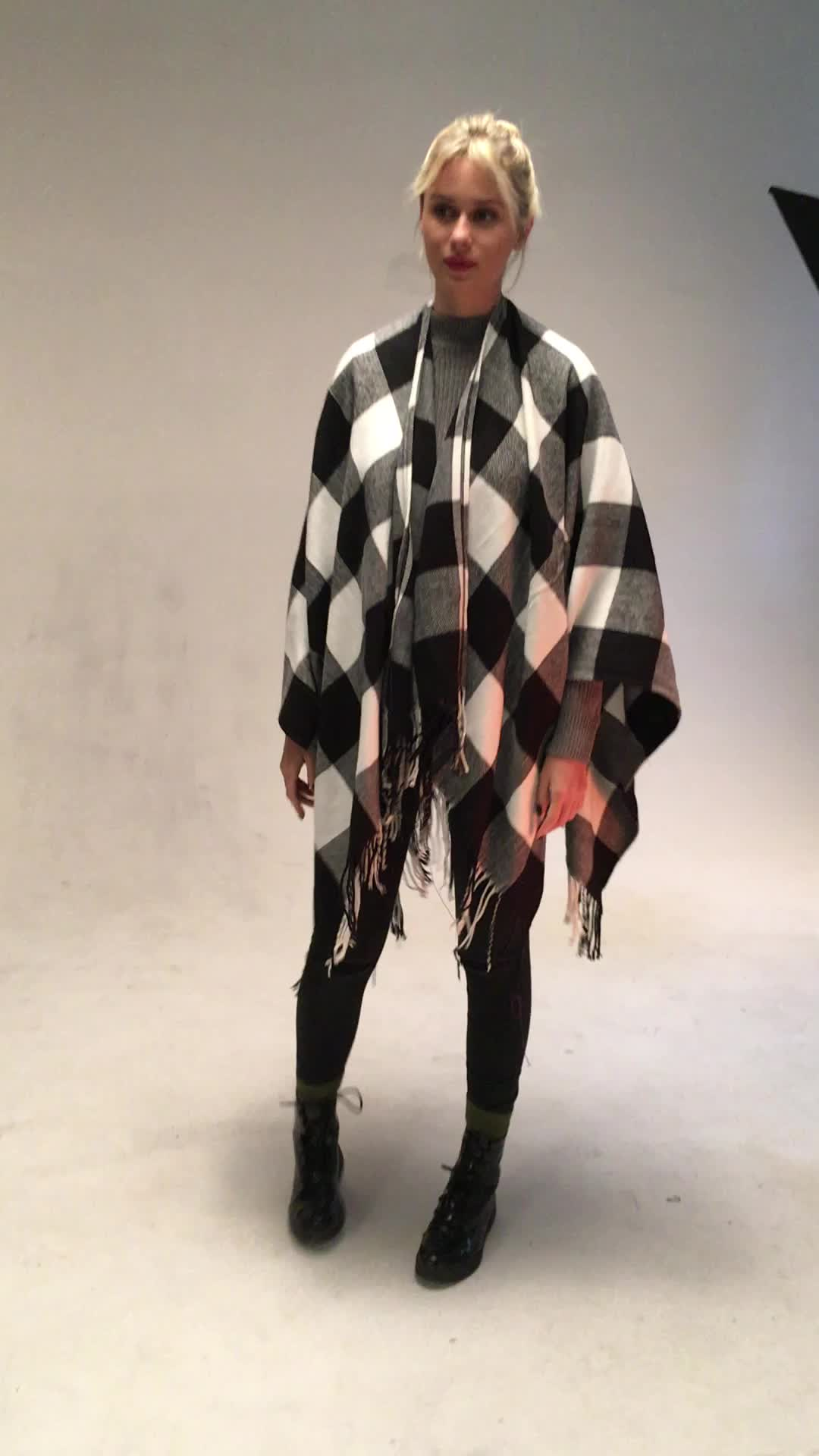 Stocked Blanket Scarf Fringe Buffalo Plaid Poncho 2019 with red and black color