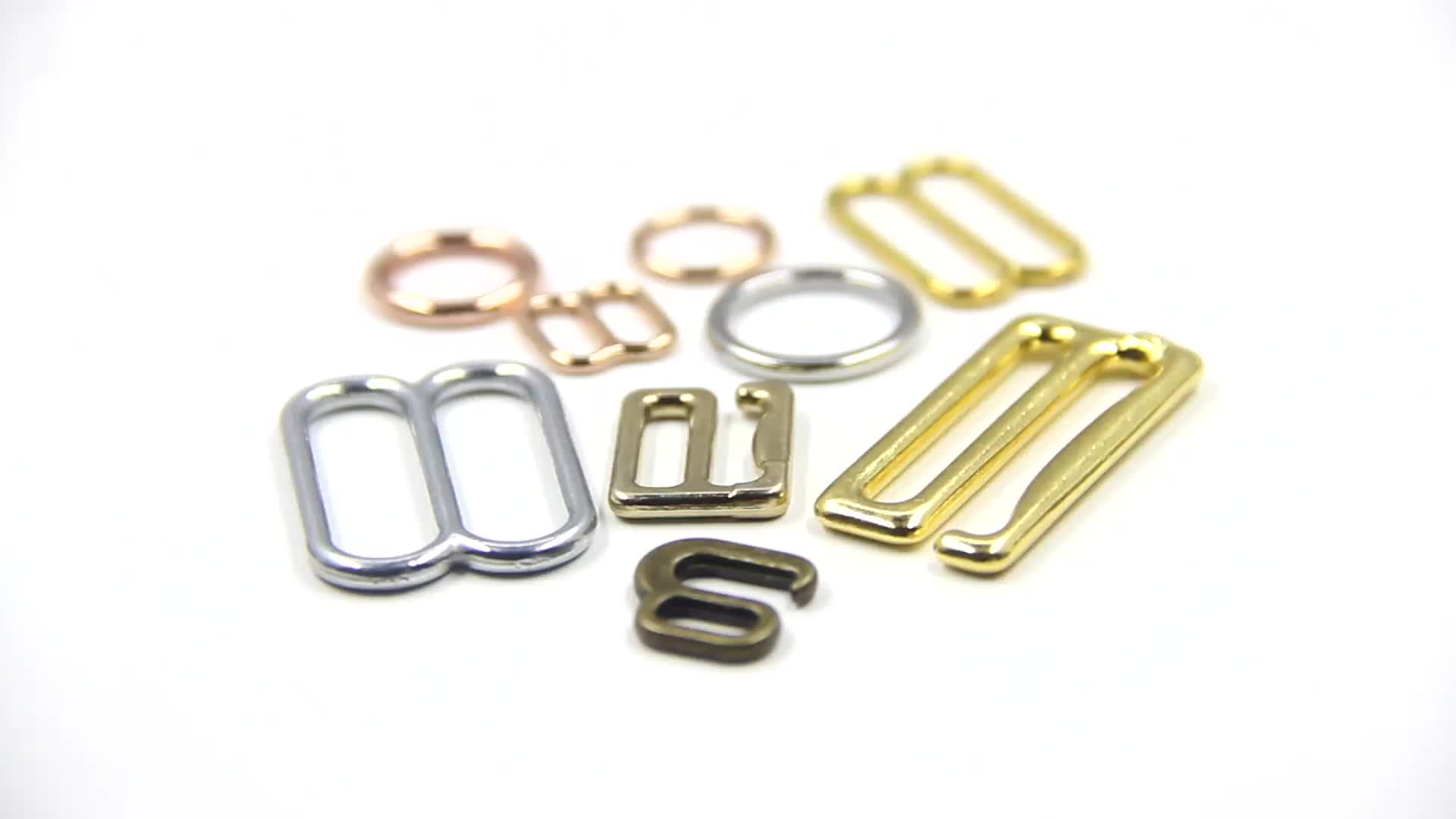 Wholesale ECO-Friendly Nick-Free Gold Plated Metal Swimwear Buckles 6mm Bra Ring And Strap Adjuster Slider