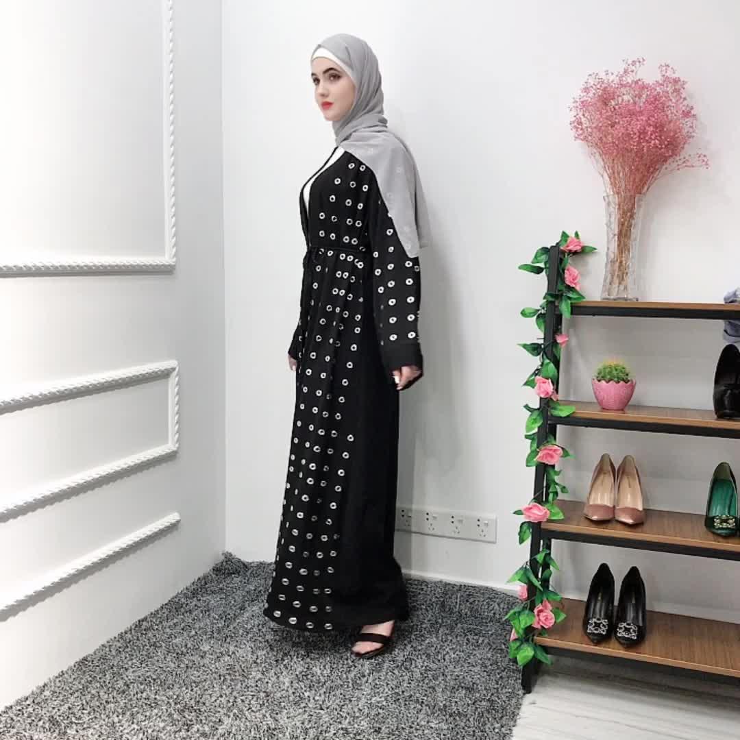 Muslim dress islamic women clothing dubai women long modest open black abaya