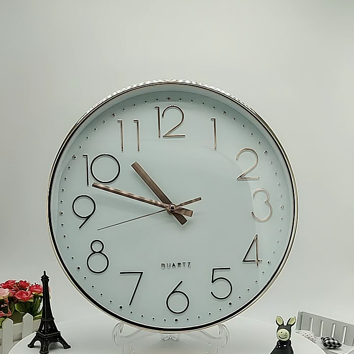 12 inch Rose gold modern simple wall clock for home decoration
