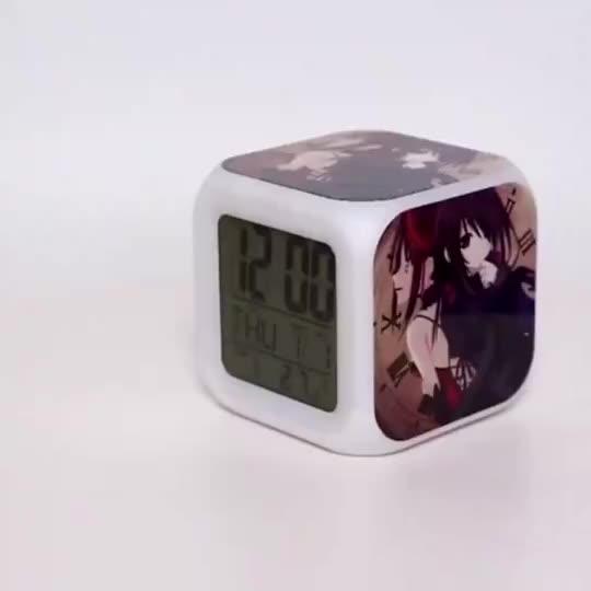 Réveil cubes sans fil, horloge pour table avec couleurs lumineuses, thermomètre, calendrier, horloge de cadeau pour enfants, promotion numérique