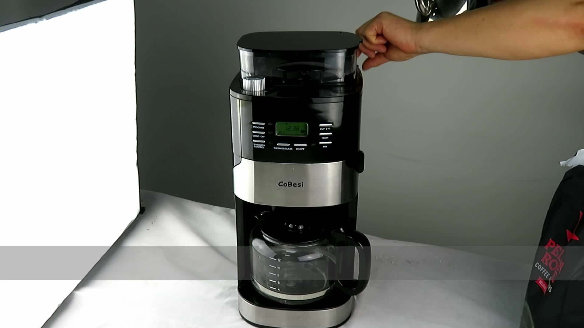 2018 new product 1.5L drip coffee maker with grinder