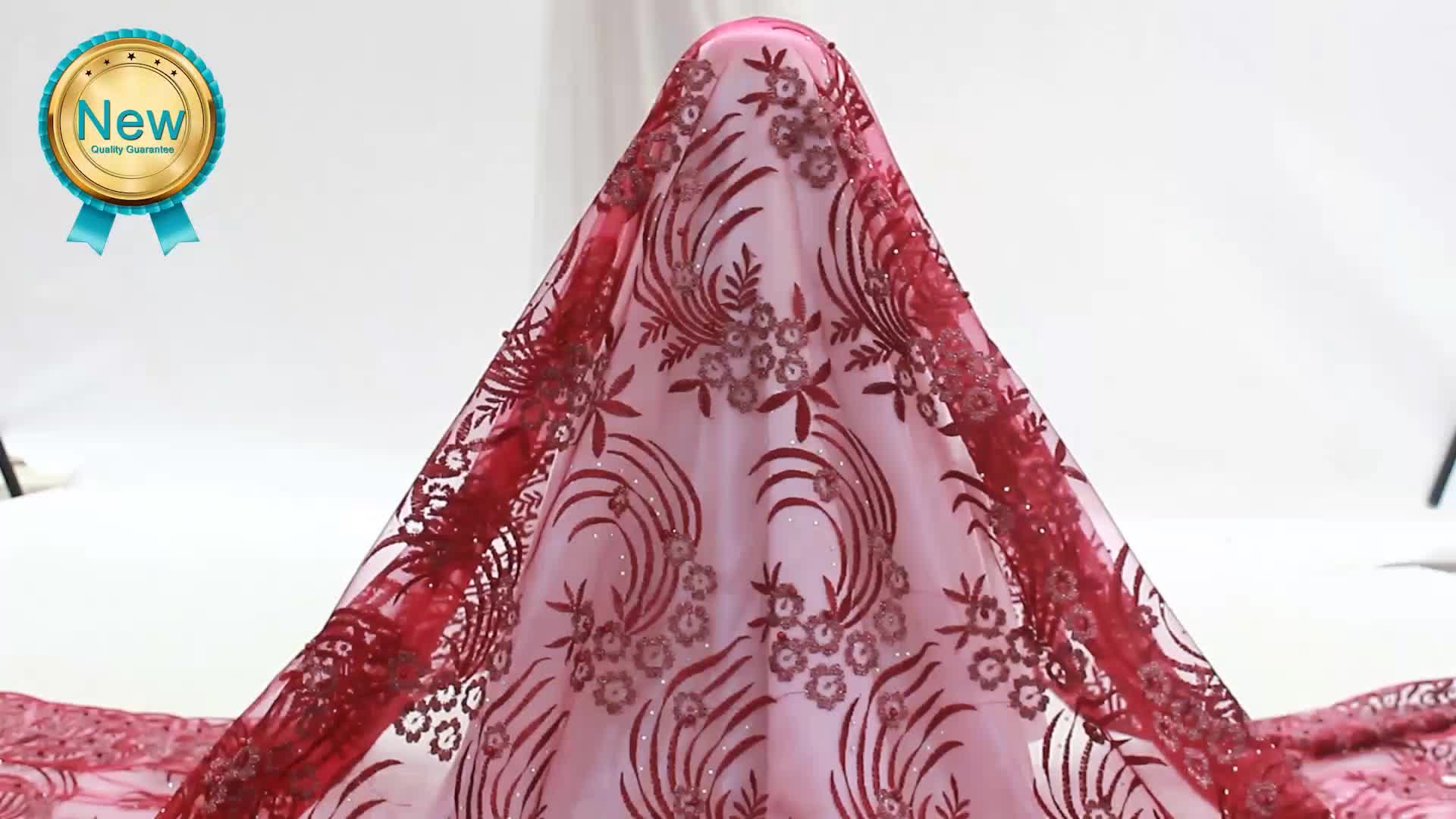 Bestway high quality dust pink tulle embroidery african lace fabrics