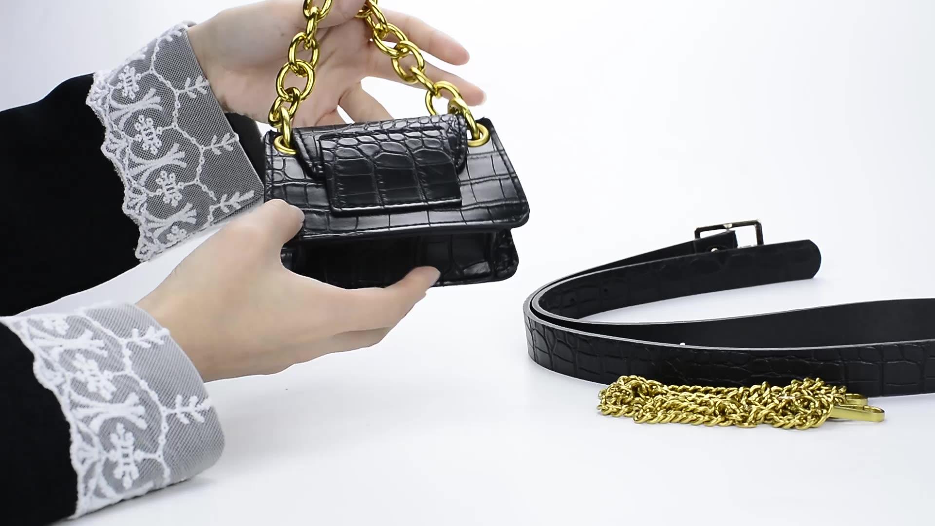 Crocodile Pattern Vintage Leather Metal Lock Crossbody Bags For Women Small Handbags Ladies Shoulder Messenger Bag