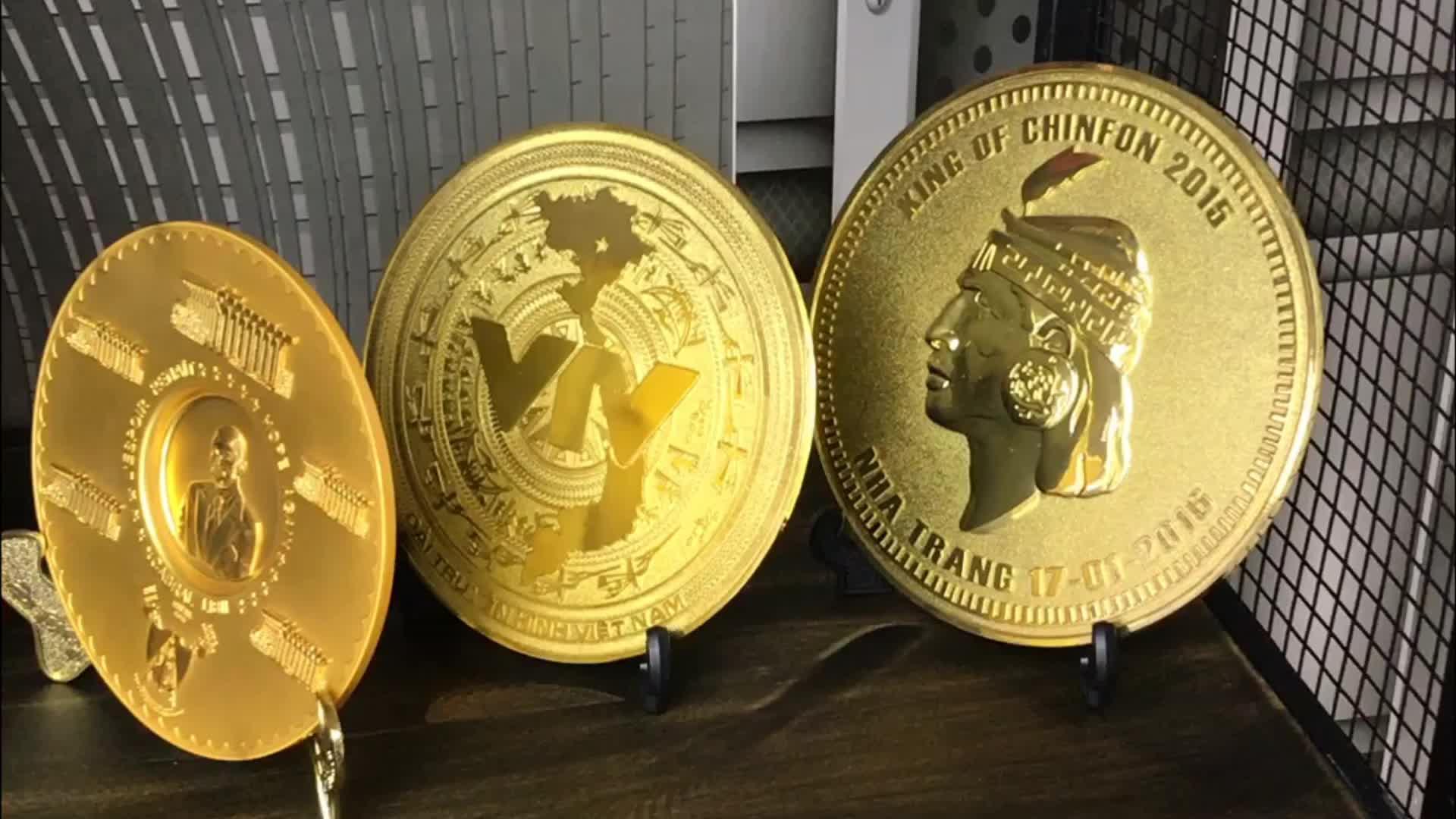 custom square 3D enamel antique copper metal plate award