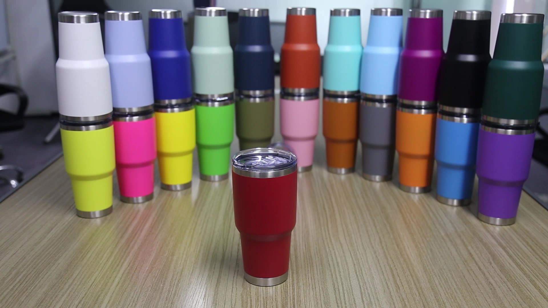 30oz נירוסטה כוס ואקום מבודד כפול קיר נסיעות רכב רגיל גליטר רגיל כוס כוסות