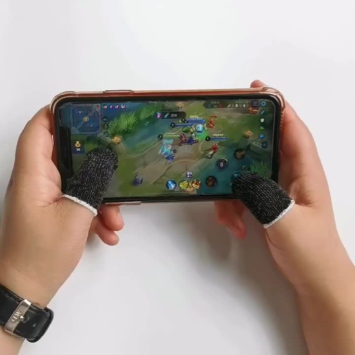 Copper fiber Mobile Finger Sleeve Cots Touch screen Game Controller Sweatproof Gloves Phone Gaming