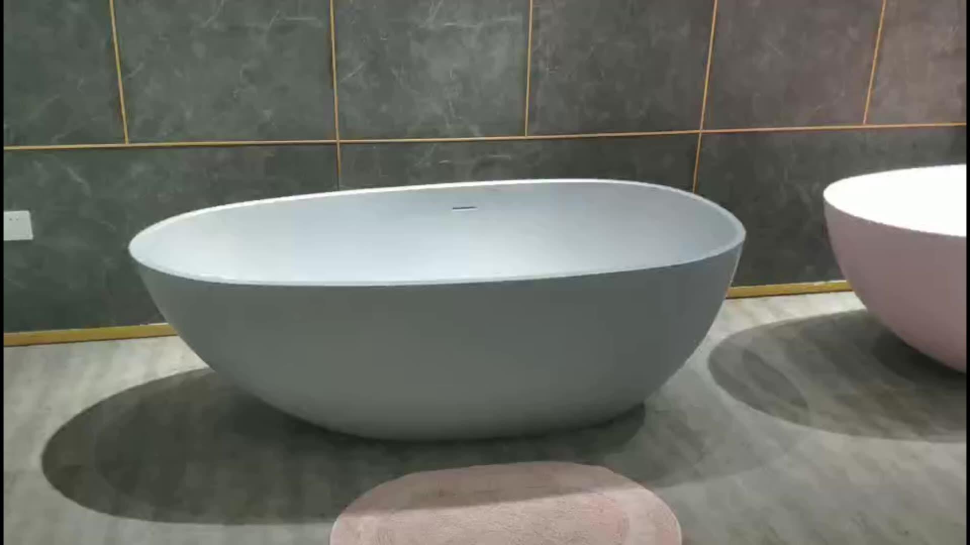 Bañera independiente superficie sólida bañera piedra Artificial bañera