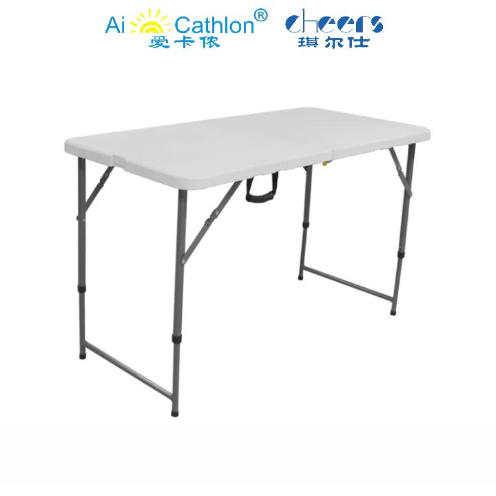 Adjustable Height Outdoor Steel Frame and Plastic Top Portable Folding Table